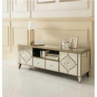 Quality Fogging Pattern Mirrored TV Console , Living Room 2 Doors Mirrored TV Cabinet for sale
