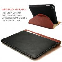 China Full Grain Leather 360 rotating wallet case for the New iPad 3 & 2 + Sleep Wake on sale