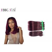Wine Red Malaysian Remy Hair Bundles / 4 Malaysian Straight Hair Bundles Manufactures