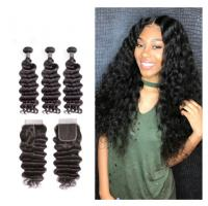 China 12 Inch Virgin Indian Human Hair Weave / Closure Deep Wave Bundles on sale