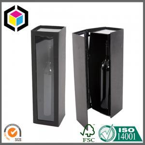 Quality Shiny Black Color Printing Wine Box; Food Grade Plastic Window Paper Box for sale