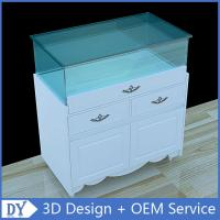 Quality Nice Matte White Glass Storage Wooden Display Plinth With Tempered Glass Covered for sale