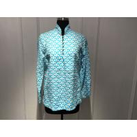 Silk Printed Loose Womens Tops Blouses Stand Collar With Special Buttons Manufactures