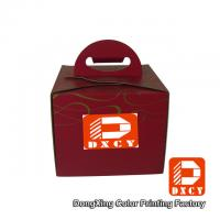 Recycled Cardboard 6 Inch Cake Packaging Boxes , Red Handmade Cake Box With Handle Manufactures