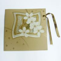 3D Flower Online greeting Laminated Card Printing Service with Golden Ribbon for Gift Manufactures