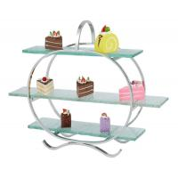 Buy cheap 3 - Layer Glass Cake Display Stand with Platters Decorating for Banquet Serving Buffet from wholesalers