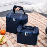 Double Zipper Polyester 22CM Depth Insulated Lunch Cooler Bags Manufactures