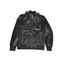 Custom Black, Size 52, Size 54 and Designer Mens PU Leather Bomber Jacket with Hoods Manufactures