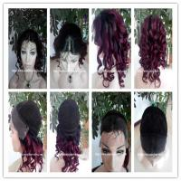 Buy cheap 100% Human hair lace front wig indian remy hair,120%-180% density,T1b#/99j color from wholesalers