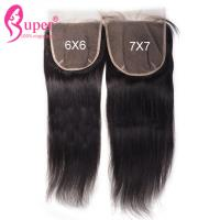 Natural Black Raw Straight Virgin Hair Closures With Machine Skin Weft Manufactures