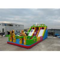 EN14960 White Blue Inflatable Fun City 0.55MM PVC Tarpaulin 13M * 7M * 5M Manufactures