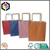 Recycled Kraft Flat Handle Grocery Bag; Solid Color Printed Paper Bag Manufactures