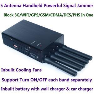 5 Antenna Handheld Cell Phone 3G WIFI GPS GSM CDMA DCS PHS Signal Jammer 20M Shield Radius Manufactures