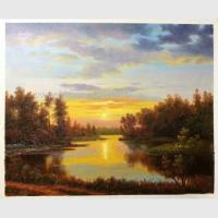 Buy cheap Classical Nature Oil Painting Landscape Sunset Landscape Painting With Stream from wholesalers