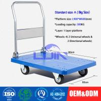 China Four wheel Platform Hand Trolley / steel constructed folding hand cart on sale