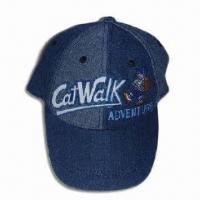 Boy's Baseball Cap with Embroidery on Front and 6 Panels, Made of Cotton Denim Manufactures