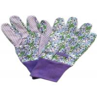 Purple Printed Working Hands Gloves Polar PVC Dots For Women Gardening Manufactures