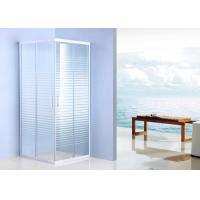 China Corner Entry Shower Enclosure Stripe Pattern , White Glass Sliding Door Shower Enclosure Cubicle on sale