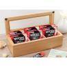 Wood Glass Clear Top Tea Bag Presentation Box  , Coffee Wooden Tea Storage Box Manufactures