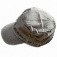 Men's Military Cap with Pre-curved Peak, Made of Cotton Twill Fabric, Stone Washed Manufactures