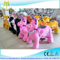 Hansel high quality Coin operated power wheels horse carriage plush toy animal scooter in mall Manufactures
