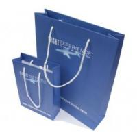 Quality Custom made recycled eco friendly Blue Paper Carrier Bag Printing Service with Nylon Rope for sale