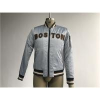 Bluish Grey Mens Polyester Bomber Jacket With Black And Tan Terry Toweling Applique Manufactures