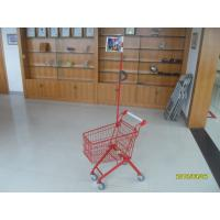 Green Powder Coating 33 Liter Metal Kids Shopping Carts With Flag Manufactures