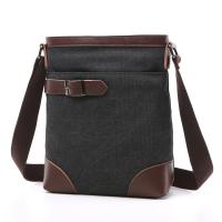 Male Poly Cotton Cross Shoulder Bag Smooth Zipper OEM With Soft Canvas Fabric Manufactures
