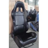 Black PVC Leather Comfortable Racing Seats With Harness OEM / ODM Welcome Manufactures