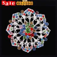 Quality Bohemian Colorful Full Crystal Long Big Silver Geometric Flower Hollow Brooch Scarf Gift for sale