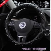 factory offer L size beautiful black leather diamond car steering wheel cover Manufactures