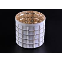 Mercury Electroplated White Sprayed Glass Candle Jars , Square Pattern Manufactures
