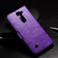 Quality Crazy Horse LG K10 Wallet Case Folio Style Magnet Close With TPU Soft Jelly Case for sale