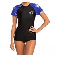 Poly Elastane Fabric Short Sleeve Surf Rash Guard With Silk Screen Print Logo Manufactures