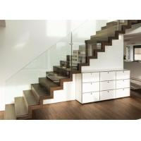 Modern Straight Flight Staircase Zig Zag Stringer Timber Wooden Stair Glass Railing Wire Banister Manufactures