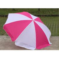Foldable Pink And White Outdoor Sun Umbrellas Nylon Material With Steel Frame Manufactures