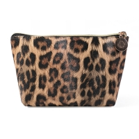 Travel Portable Waterproof Leather Leopard Print Cosmetic Bag Storage Manufactures