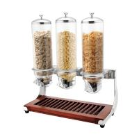 CE Stainless Steel Cookwares , Wooden Base Triple Cereal Dispenser for Buffet Service 4.0Ltr x 3 Manufactures