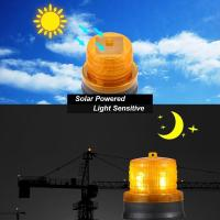 Quality 4LED Amber Yellow Color Solar Powered Magnetic Flashing Beacon Floating Barrel for sale