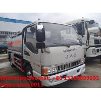high quality JAC 5500L oil tanker fuel transport truck for sale, Bottom price JAC diesel tank delivery truck Manufactures