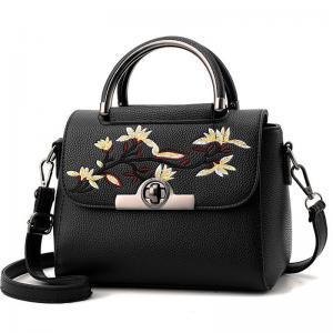 Embroidered PU Women Leather Messenger Bag ,Hand Totes  Ladies Shoulder Bag With Zipper Hide Porket Manufactures