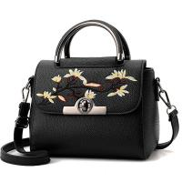 Embroidered PU Women Leather Messenger Bag ,Hand Totes  Ladies Shoulder Bag With Zipper Hide Porket Manufactures
