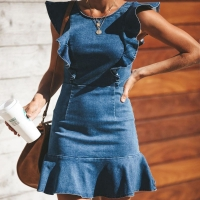 Sleeveless RTS-SKIRT-01 15cm Ladies Denim Dress With Frill Manufactures