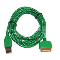 Durable 30 Pin To USB Micro Usb Sync Cable 3ft Covered With Green Nylon Manufactures