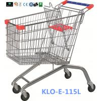 Large Heavy Duty Supermarket UK Shopping Cart 115L With 4x4 Inch Swivel PU Wheel Manufactures