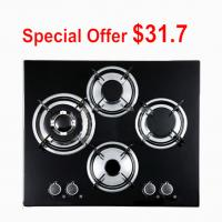 Black Tempered Glass Top 4 Burner Gas Cooktop , Gas On Glass Hob Manufactures