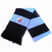 Knitted Scarf with Embroidery, Made of Acrylic, Suitable for Sports Supporters Manufactures
