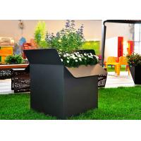 Painted Black Square Stainless Steel Planters Waterproof American Style  Manufactures