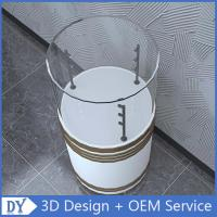 Quality Factory customized good quality fashion round shape wooden white lacquer glass cabinets with led lights for sale